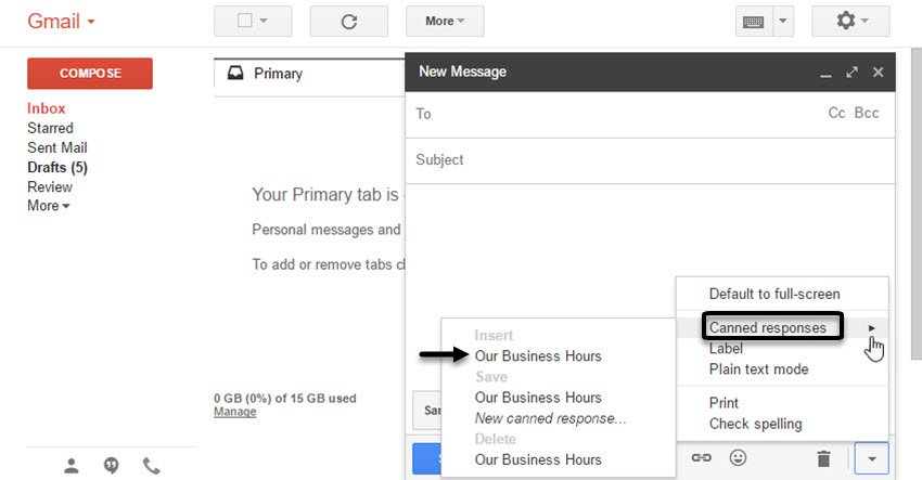 Gmail Canned Responses menu