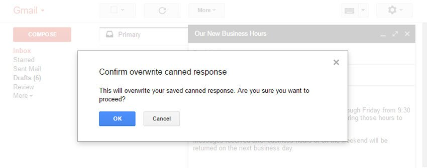 Overwrite Canned Response prompt