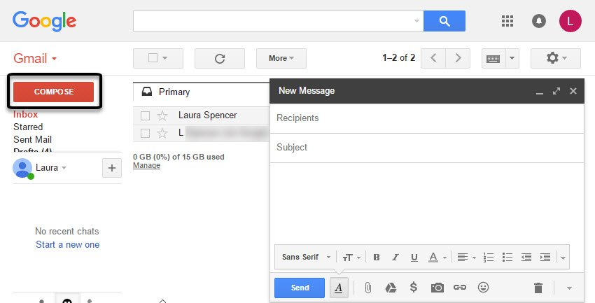 Gmail New Message form