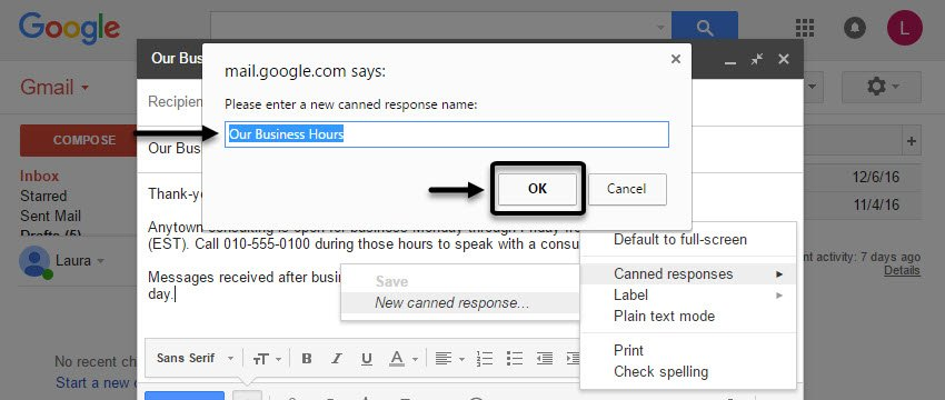 Naming your Gmail Canned Response
