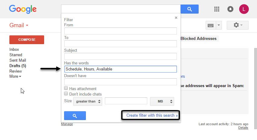Advanced Gmail Search Box