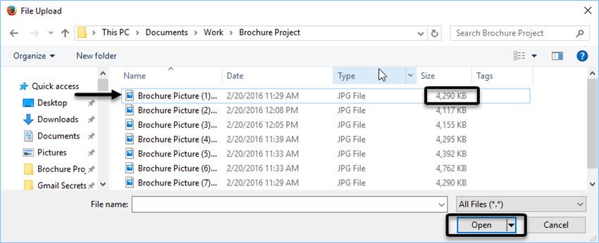 File Upload window in Gmail