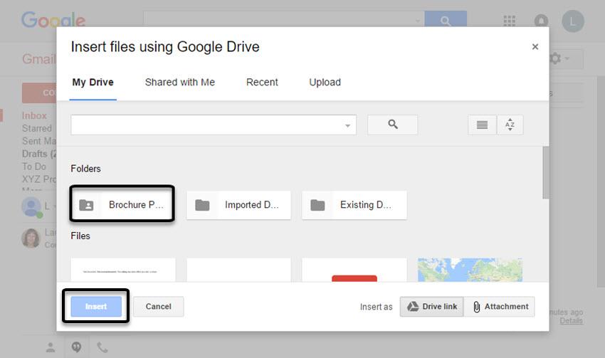 The Insert files using Google Drive box