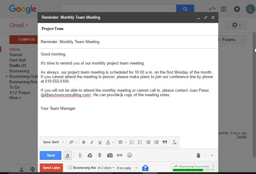 Example Gmail message