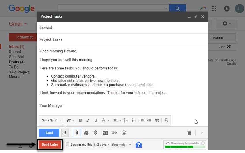 Gmail example message
