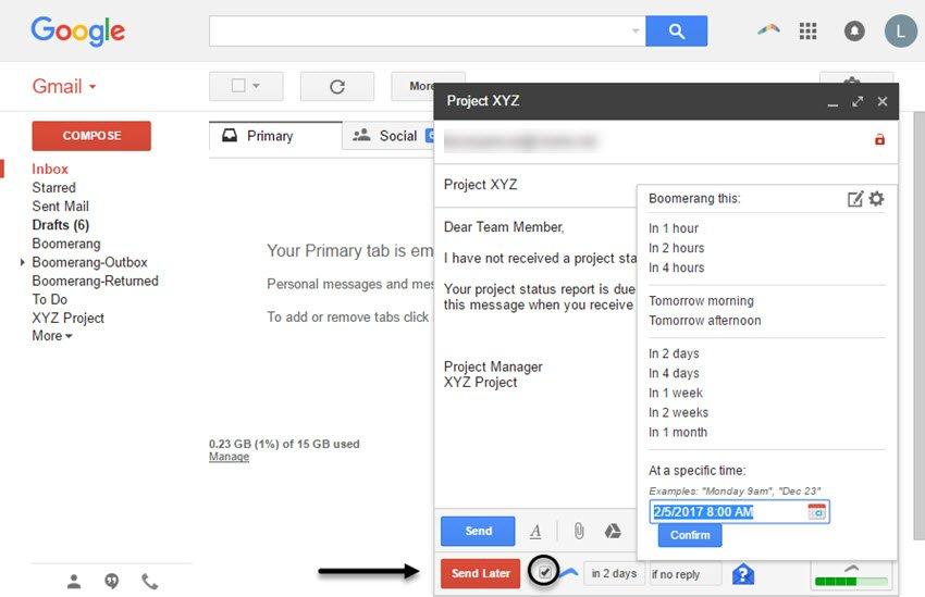 Timeframe options in Boomerang for Gmail