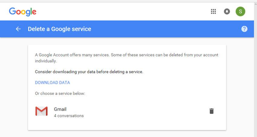 Delete a Google service screen