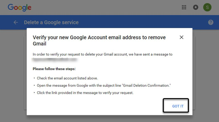 New email confirmation screen
