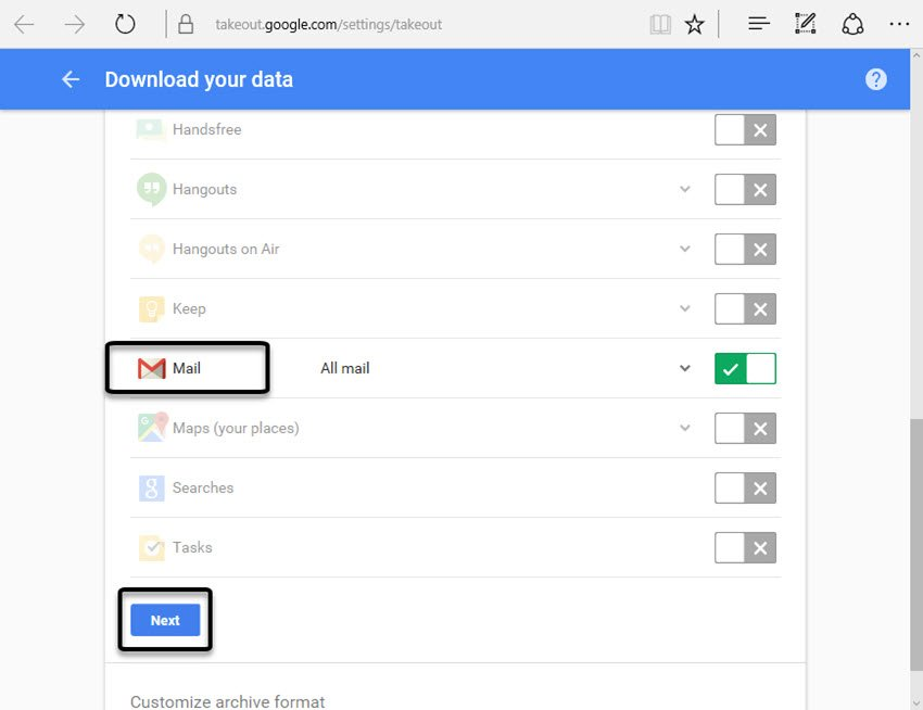 Choose which data to download