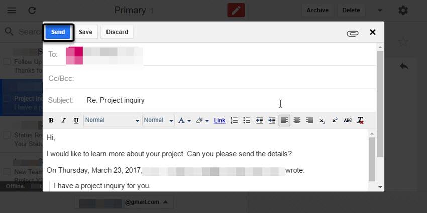 Reply dialog box