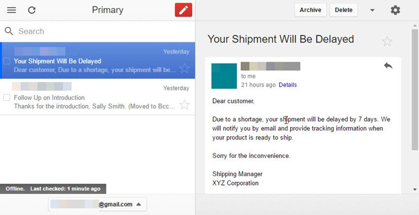 Gmail Offline inbox