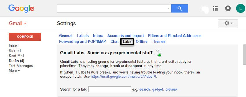 Gmail Settings screen with Labs tab selected