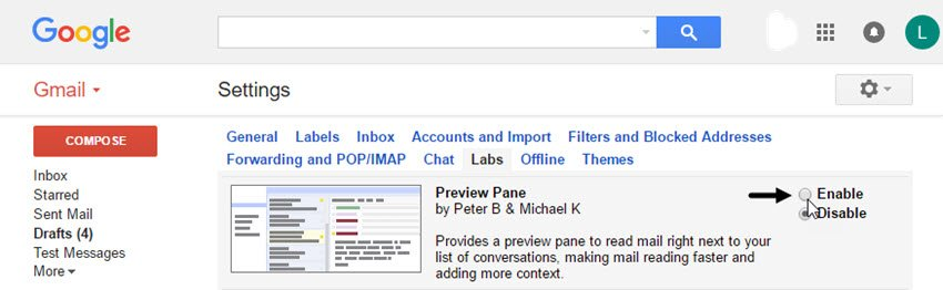 Gmail Preview Pane in Gmail Labs