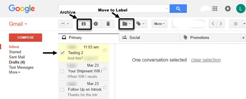 Archiving or Moving a Message in Gmail Preview Pane