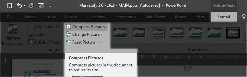 Compress image in PowerPoint