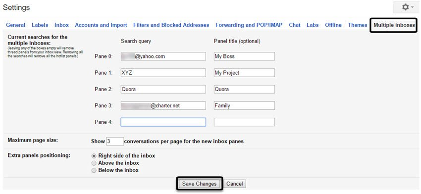 Gmail Labs Multiple Inboxes tab