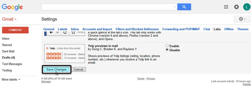 Enabling a Gmail Lab