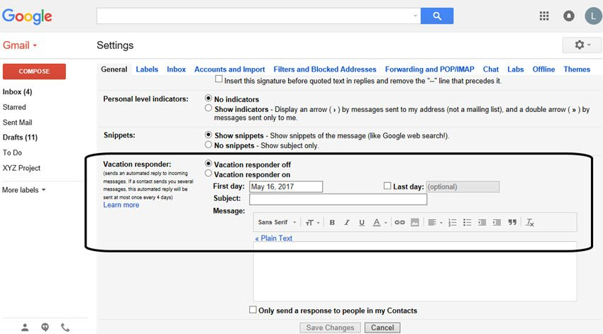 Gmail tutorials--vacation responder message