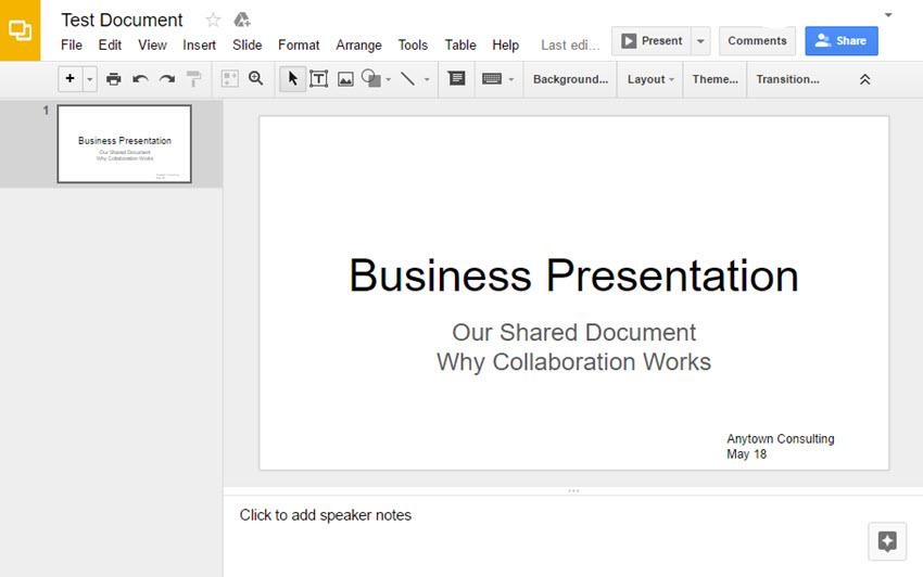 Google Slides Presentation Example