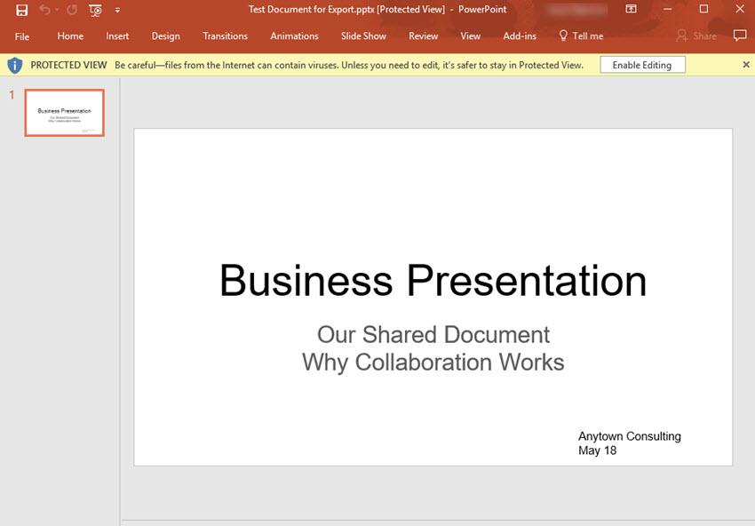 Google Slides presentation converted to PowerPoint