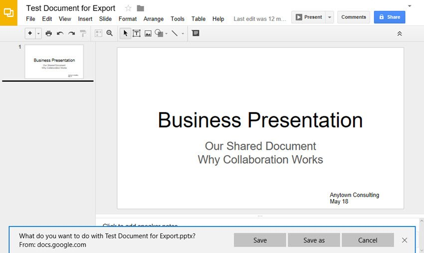 Google Slides conversion to PowerPoint