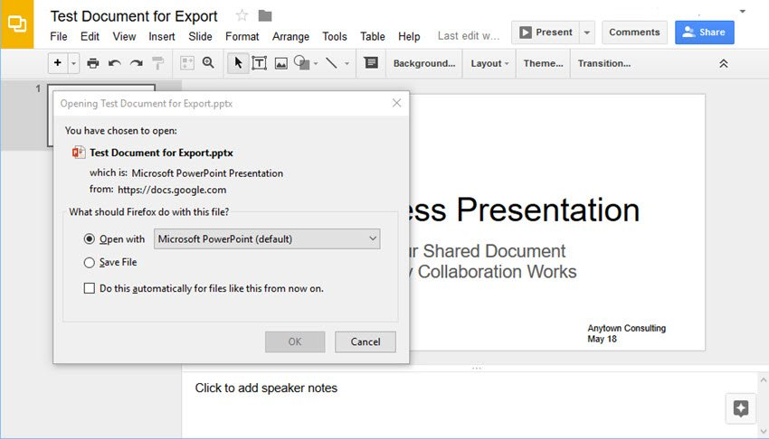 Google Slides conversion in Firefox