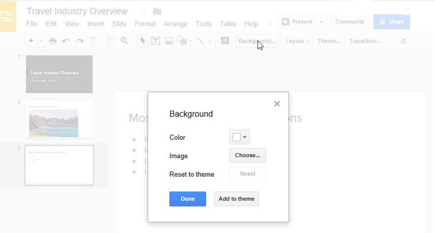 Background Dialog Box in Google Slides