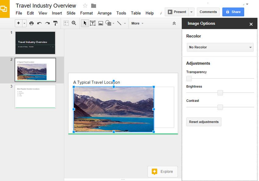 Image Options Sidebar in Google Slides