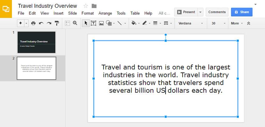 Google Slides Presenation Aligning Text