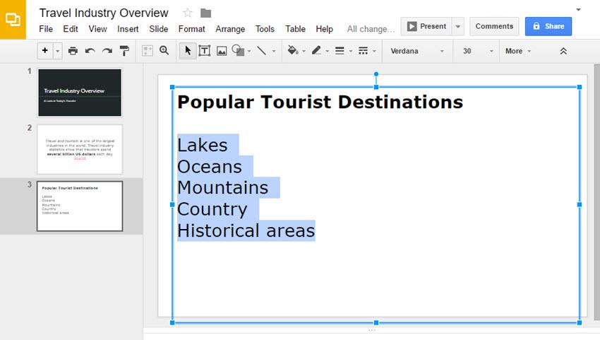 Google Slides Presentation List Text selected