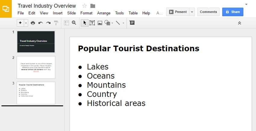 How to put bullet points in Google Slides