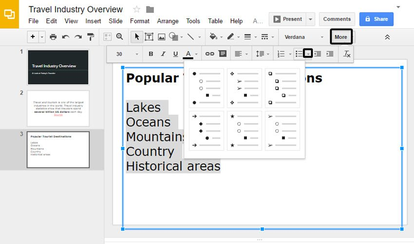 Google Slides Presentation Bullet Options