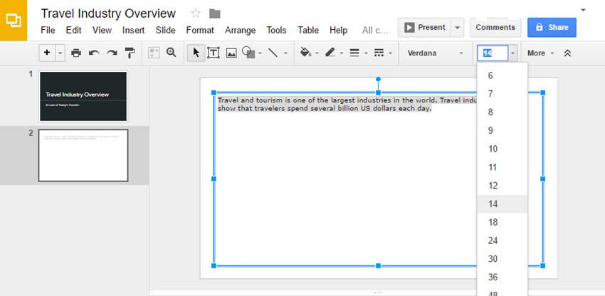 Google Slides Presentation Font Sizes