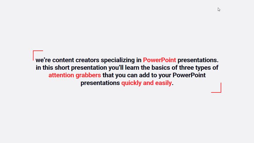 A simple 30 second presentation slide