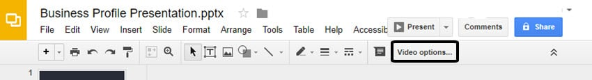 Video Options Tool in Google Slides