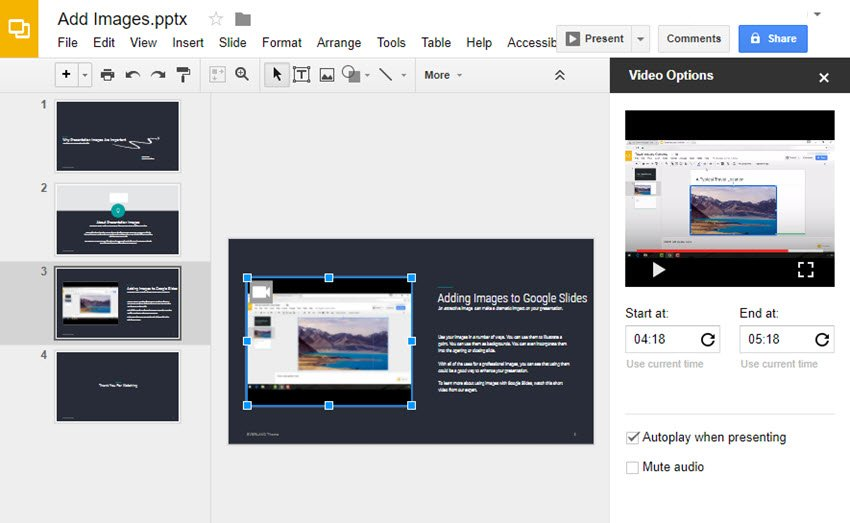 Completed Video Options Panel in Google Slides