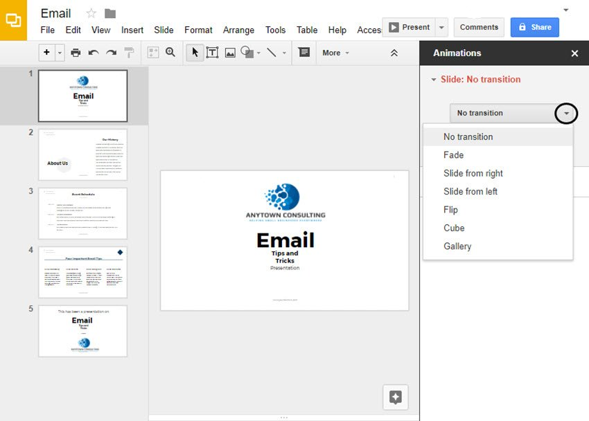 Drop-down Menu for Transitions in Google Slides