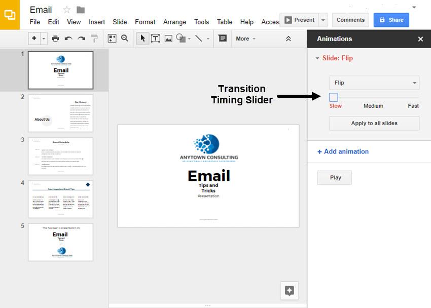 Google Slides Transition Timing Slider