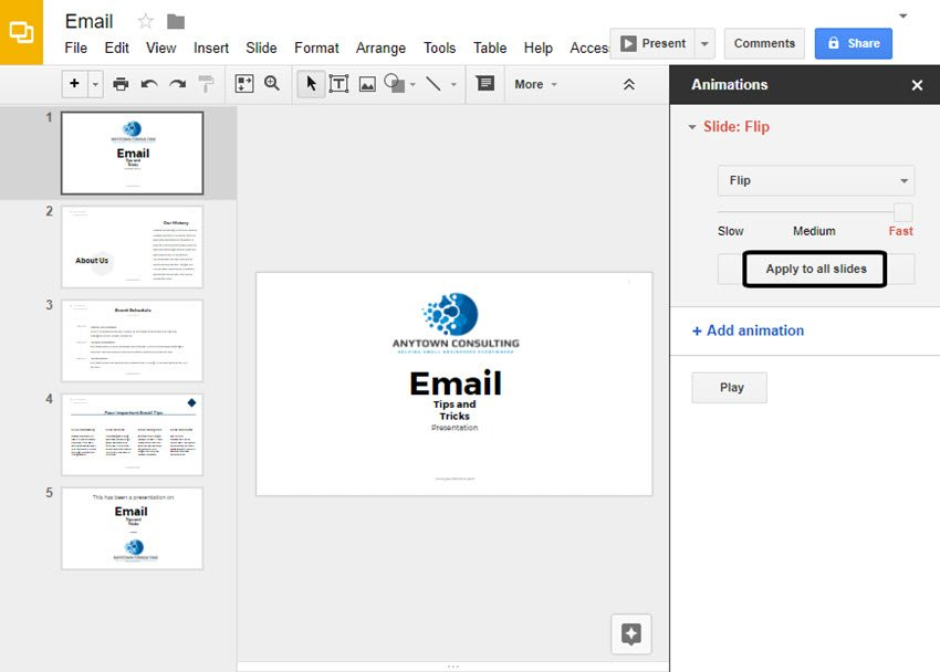 Apply to All Slides Button in Google Slides Animations