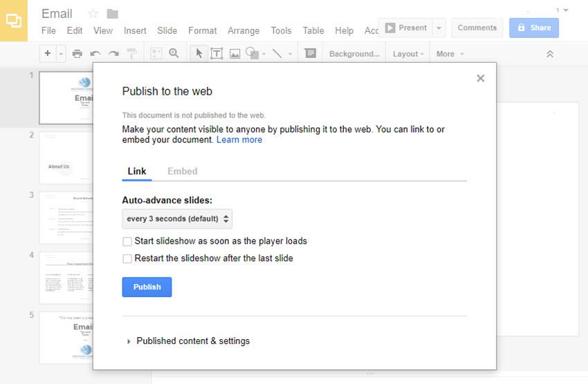 Im Web-Dialogfeld in Google Präsentationen veröffentlichen