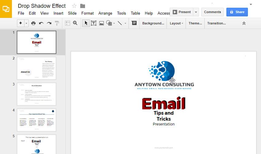 Google Präsentationen Drop-Text-Effekt