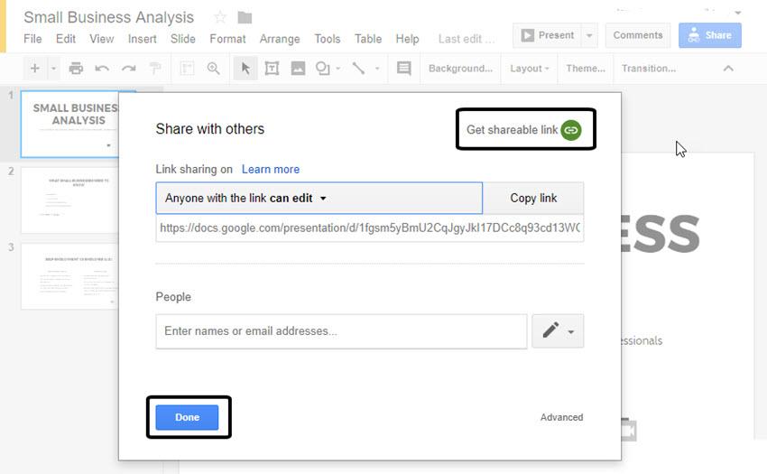 Link zum Teilen von Google Präsentationen