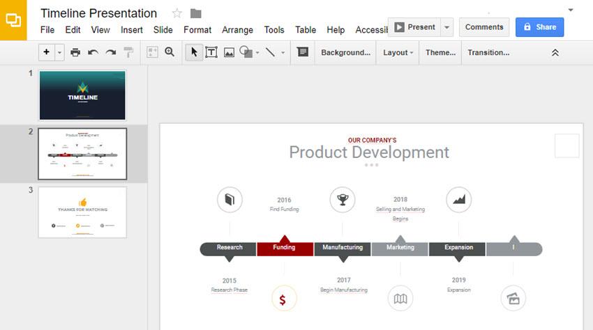 Google Slides Timeline Slide with New Icon