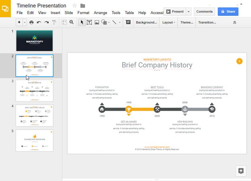 Google Slides Timeline Template 1