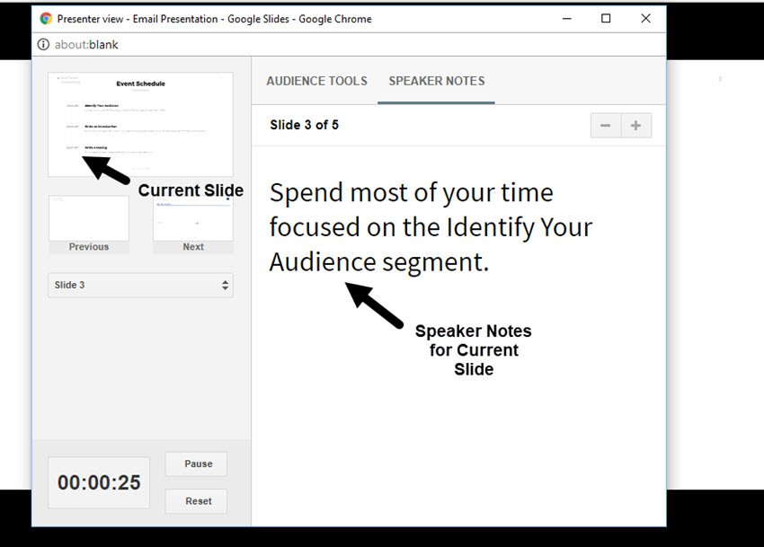 Speaker Notes from Presenter View in Google Slides