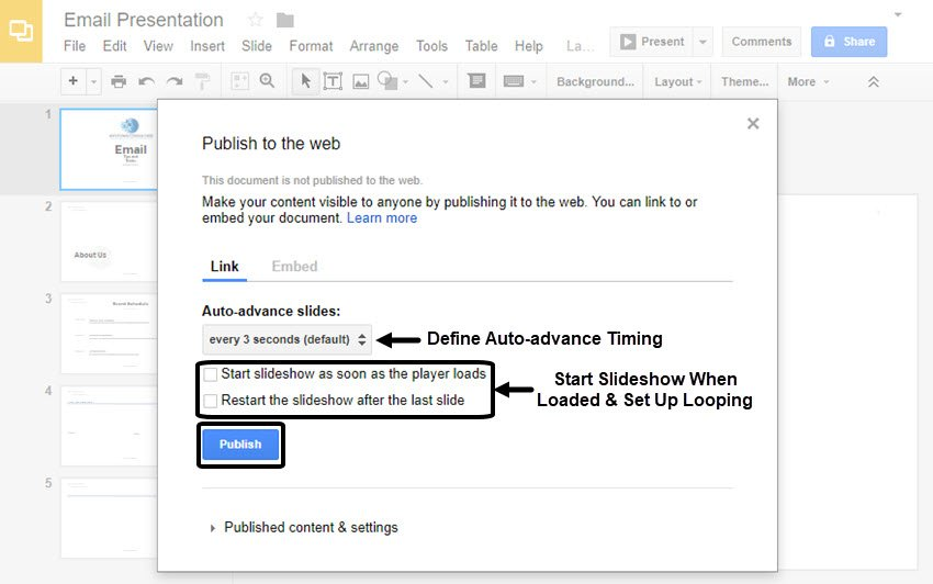 Google Slides Link Tab in Publish to the Web dialogue box