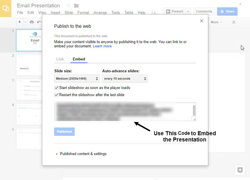 Code to Embed the Presentation