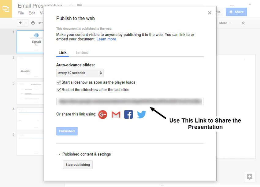 Publish to the Web Dialog Box in Google Slides