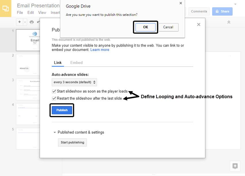 Confirm Publish Prompt in Google Slides