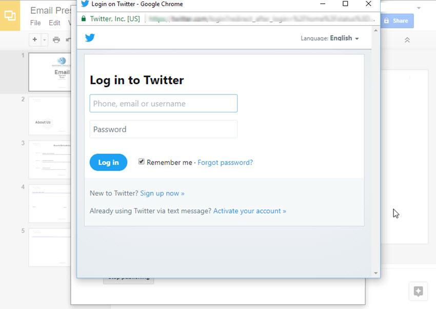 Twitter Log In Window